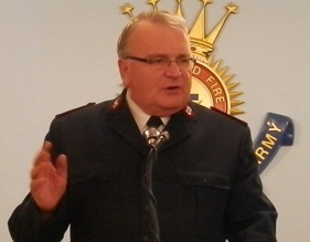Major Ian Harris, Divisional Commander of the Salvation Army makes his address